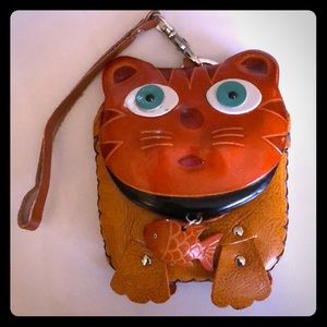 Leather Cat Coin Purse